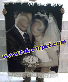 تابلو فرش چهره عروس و داماد کادوی سالگرد ازدواج